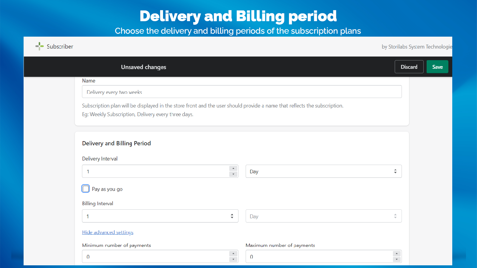 Customizable Billing and Delivery