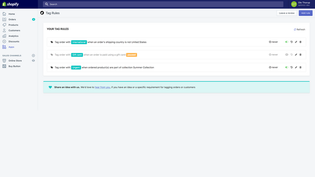 The TagRobot dashboard provides an overview of all your rules