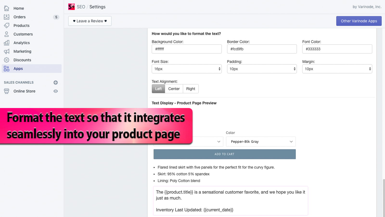 Format the text so that it integrates seamlessly into your page