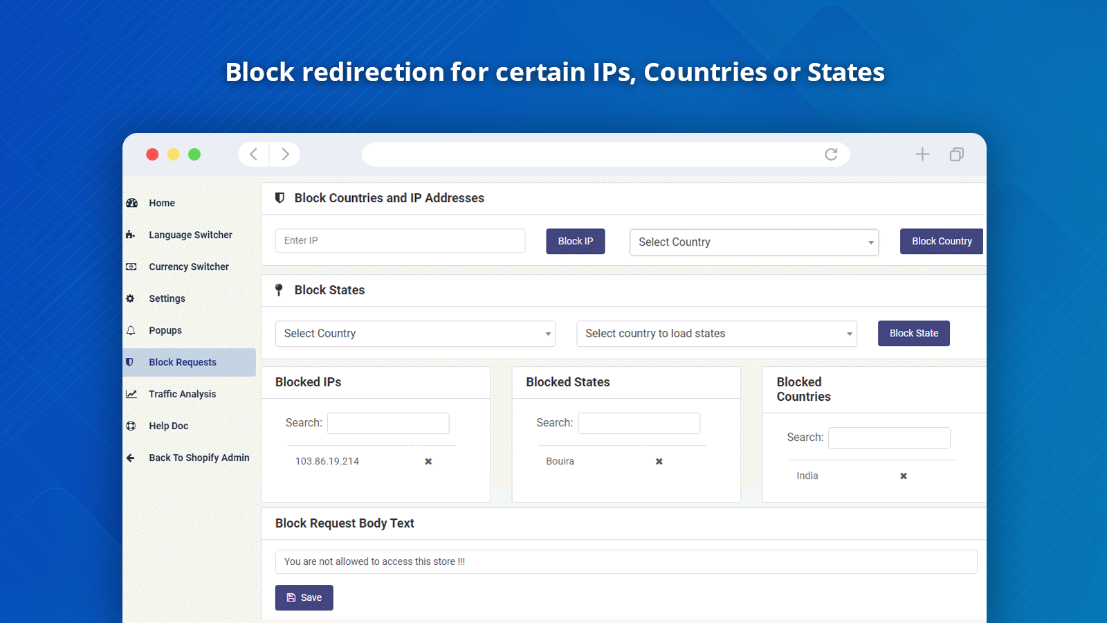Geolocation Redirect Shopify Blocked Requests