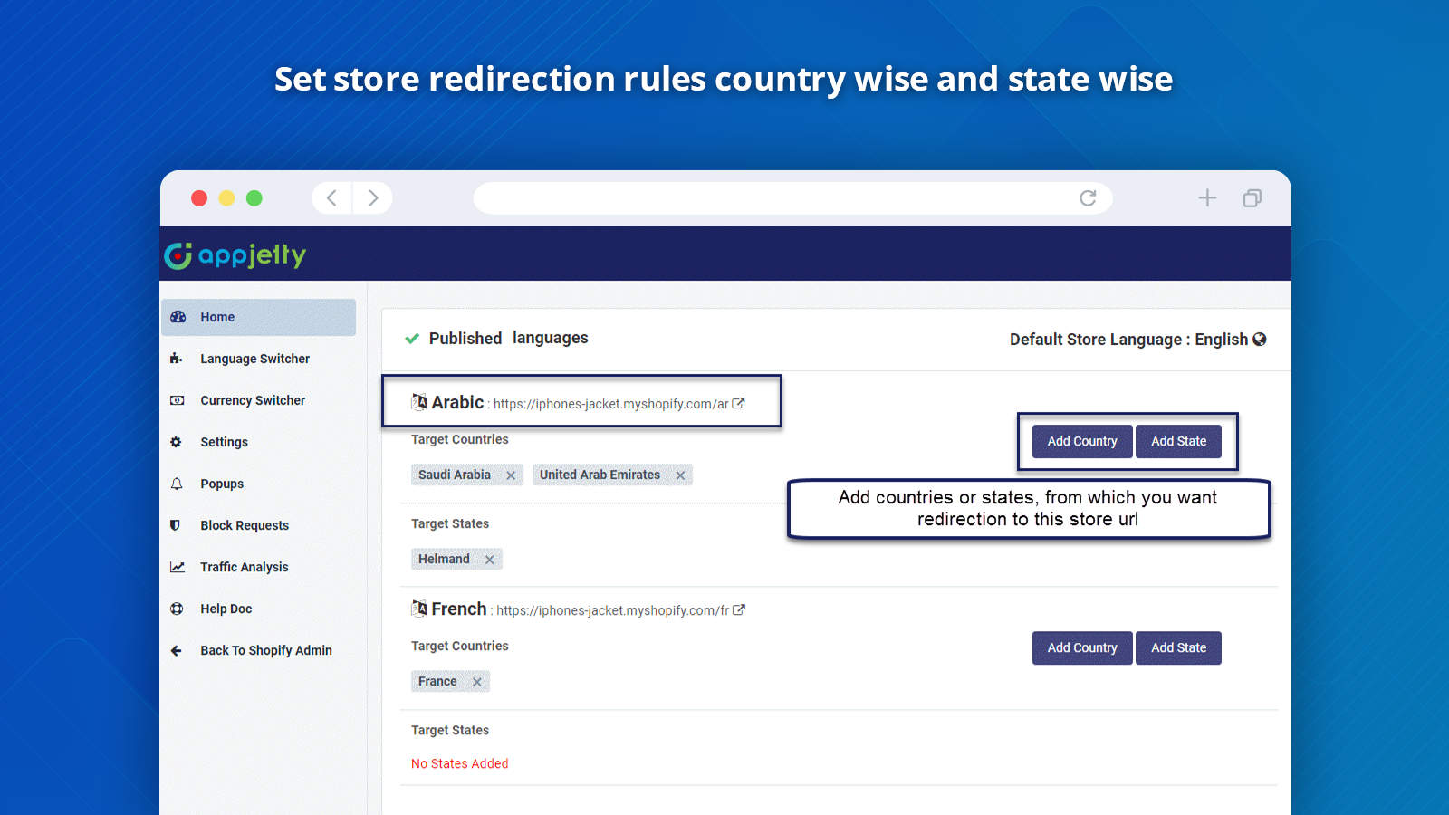 Shopify Redirect App Home