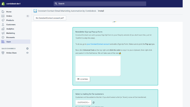 Shopify ConstantContact - Add Popup Form