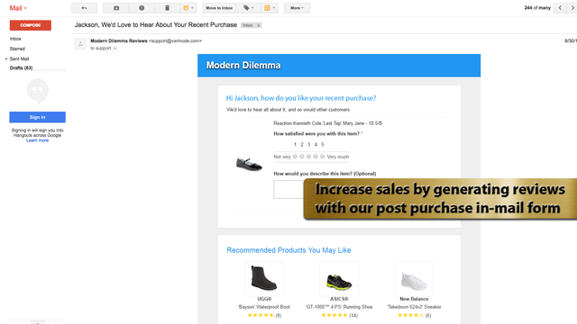 Increase sales by generating reviews with our post purchase in-m