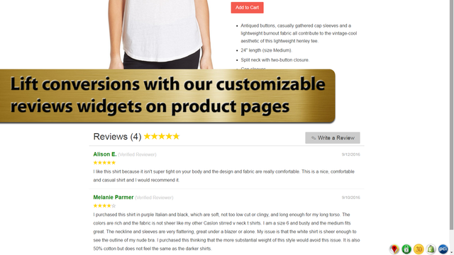 Lift conversions with our customizable reviews widgets on produc