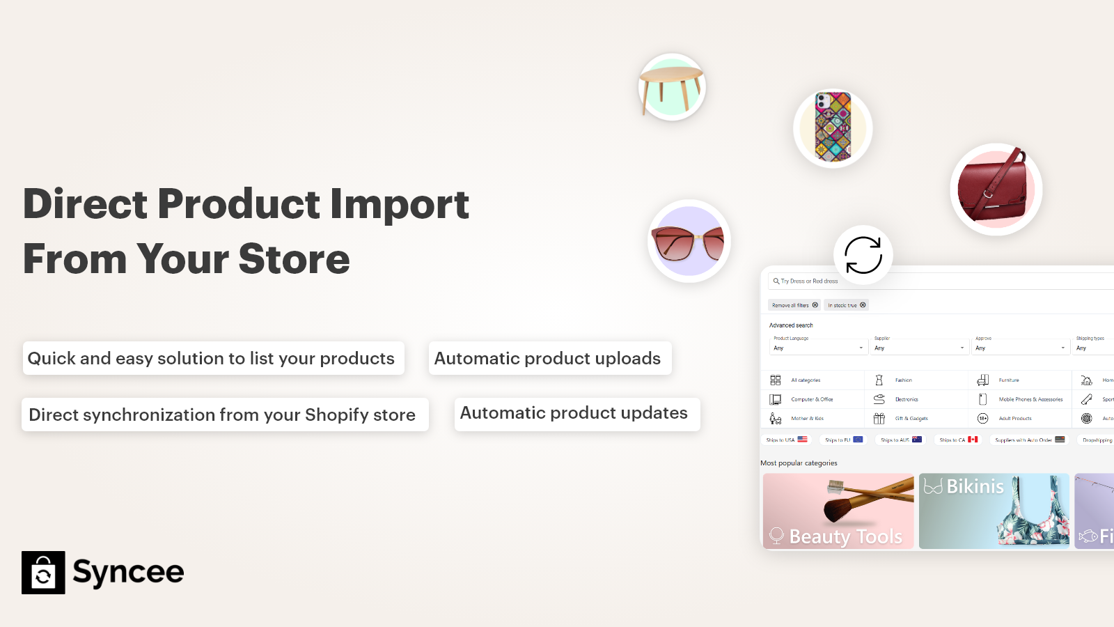 Direct product import from your store