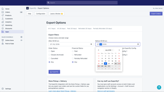 Export orders by date range, payment and fulfillment status