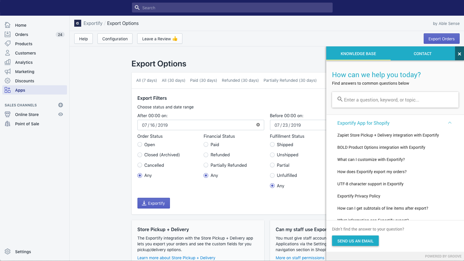Exportify knowledge base and support is available any time