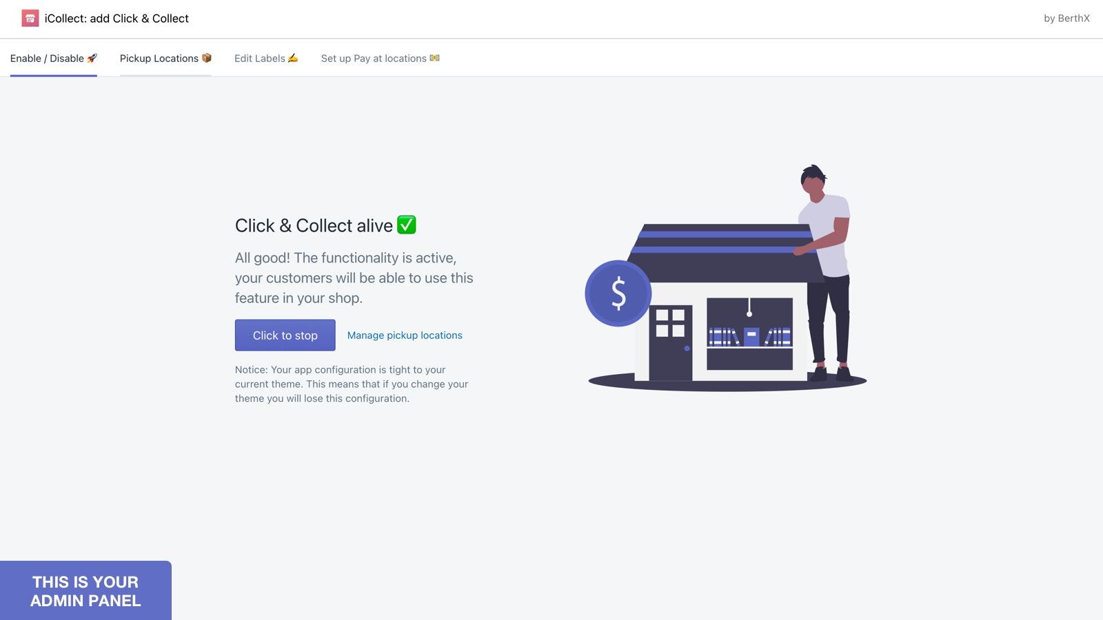 Admin panel of click and collect Shopify app