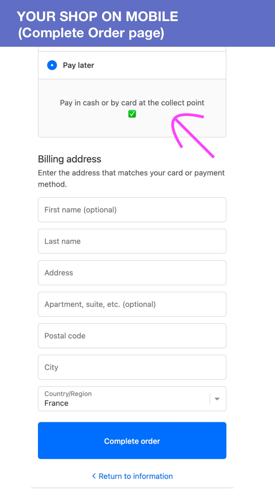 Mobile pay later page