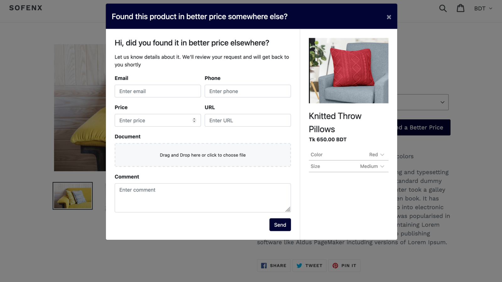 Get price offer from customer using highly customizable popup