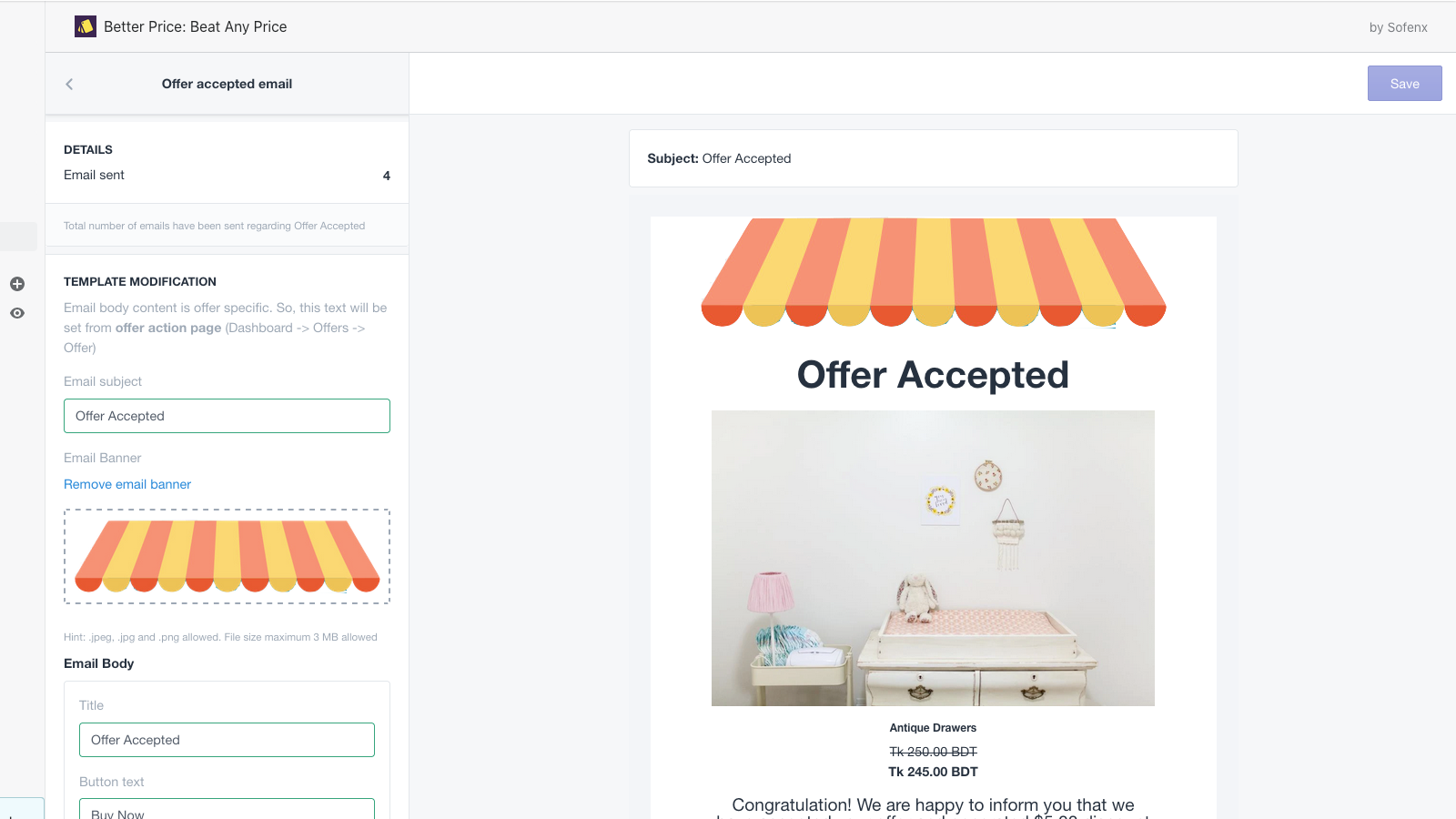 Customize email templete and content