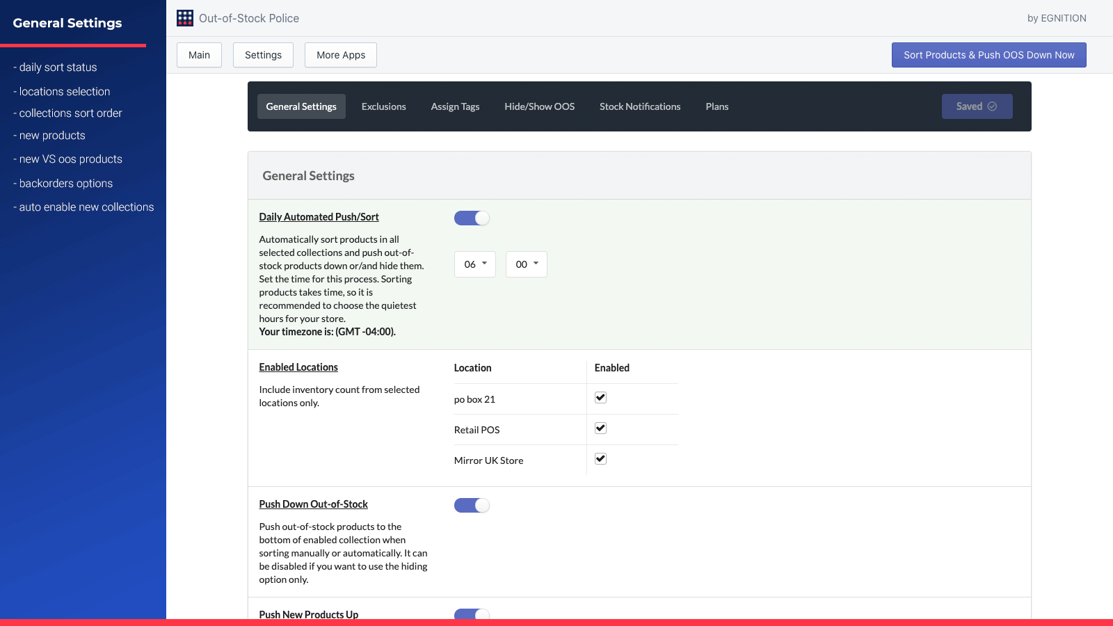 General Settings to push sold-out products down automatically