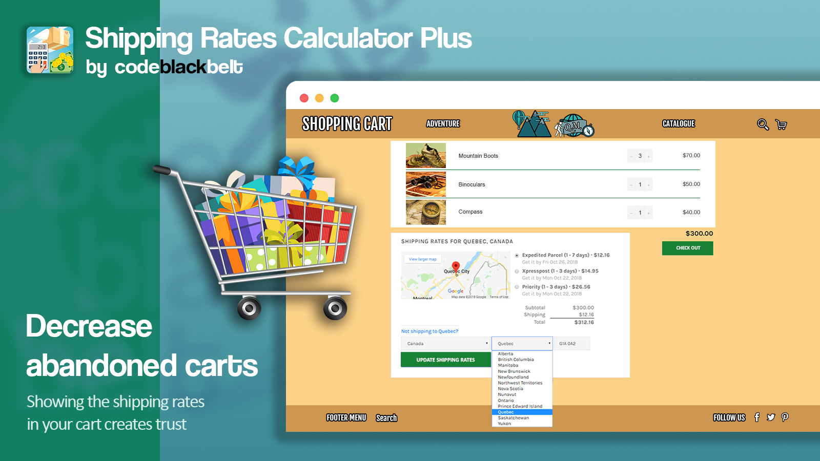 Showing the shipping rates in your cart creates trust