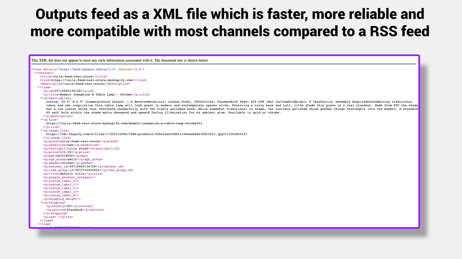Outputs XML (which is faster, more reliable than RSS)