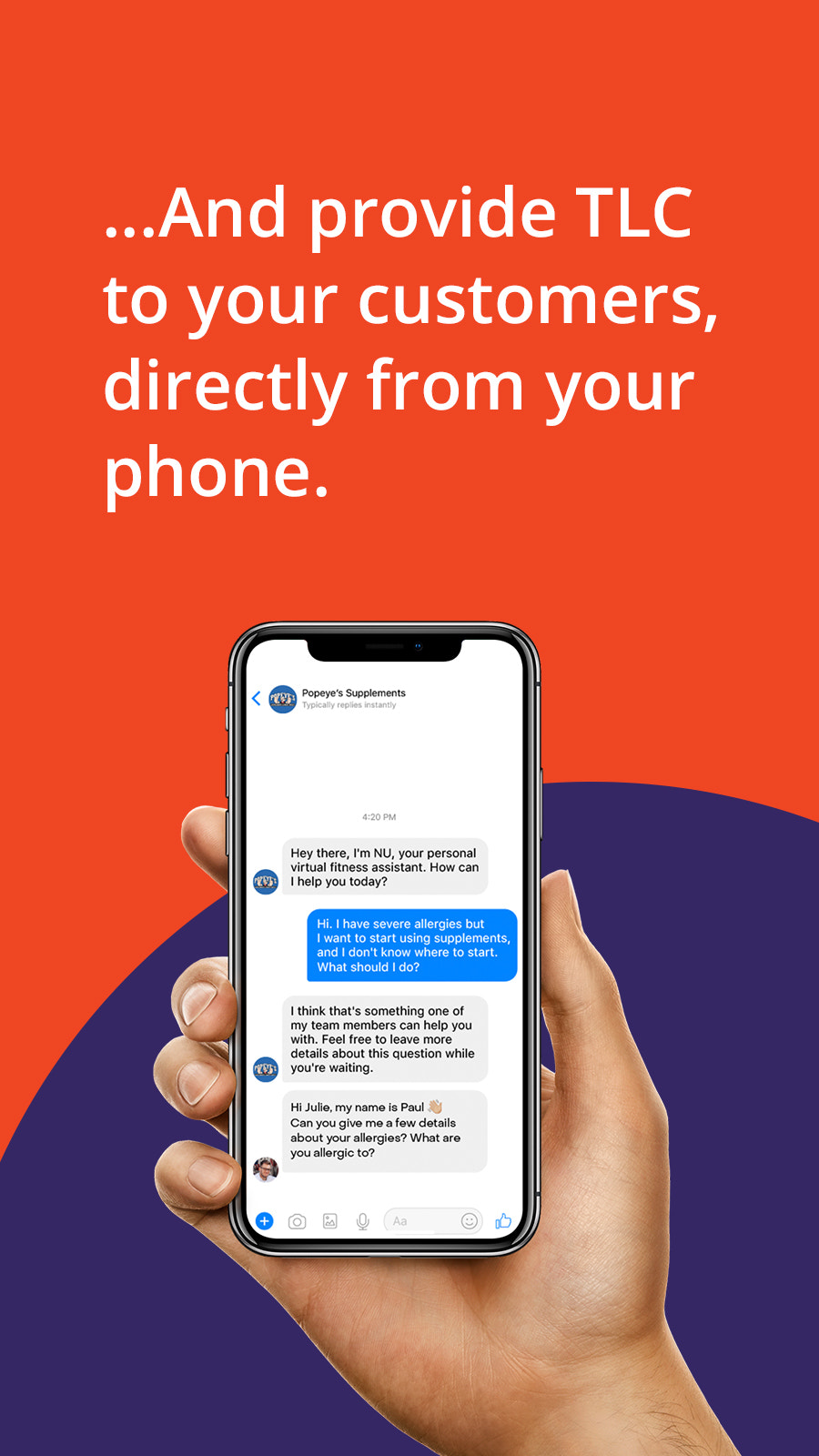 Message customers instantly from your mobile phone
