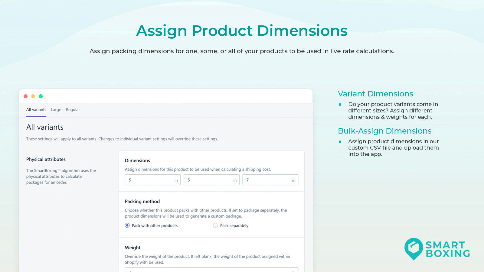 Assign product dimensions for volumetric rates at checkout