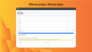 Create different labels for different products