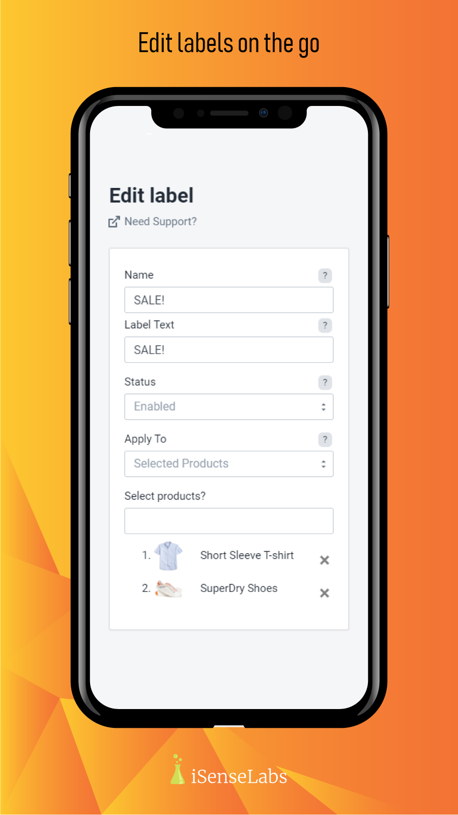 Edit labels on the go