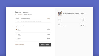 Screenshot of order with shipping costs