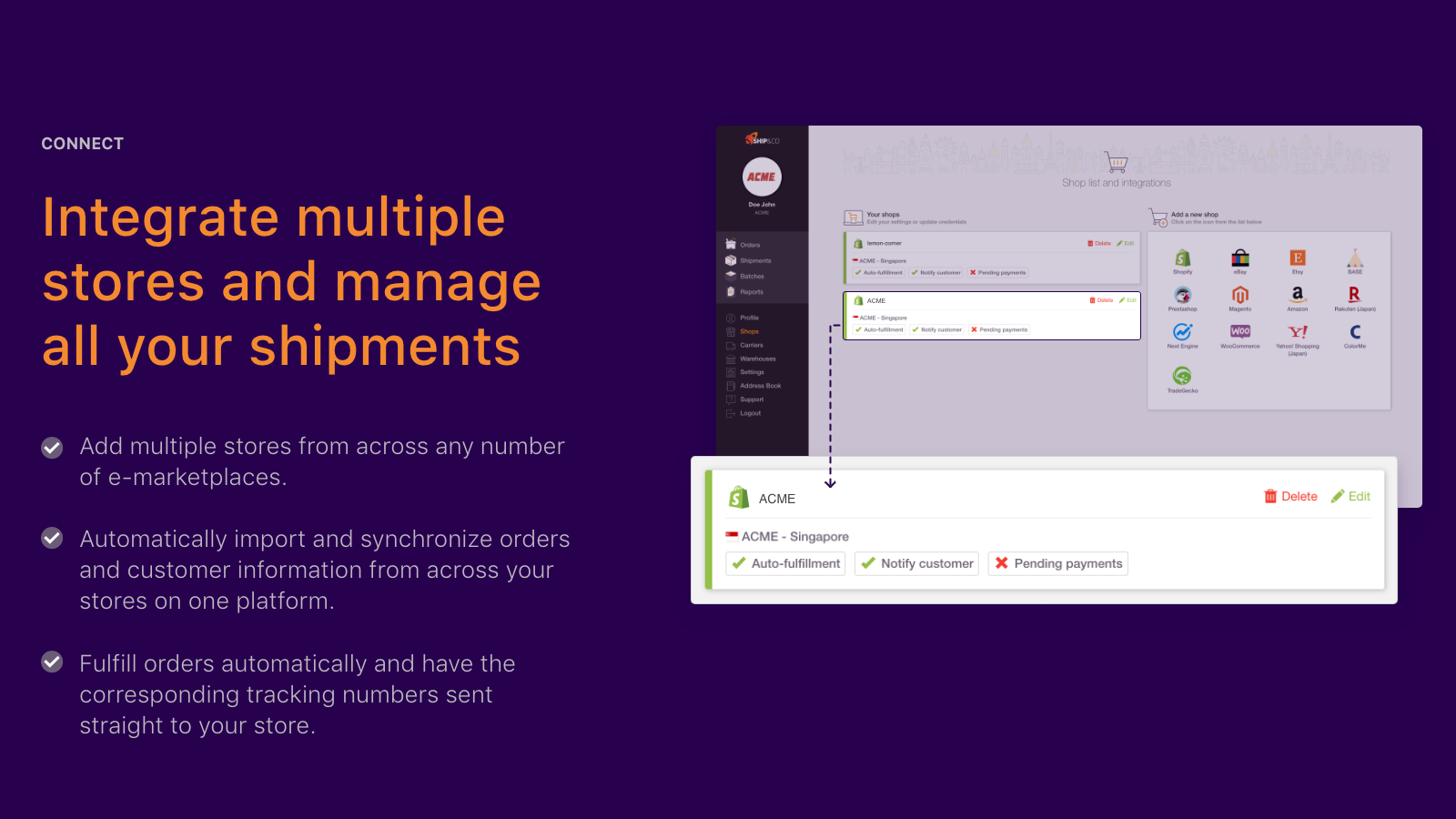 Sync with multiple shops, real time