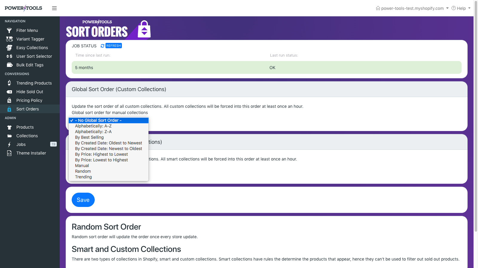 Set a global sort order for your custom collections