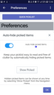 Quick Pick Mobile Preferences - More Info