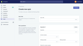 Create new quiz view