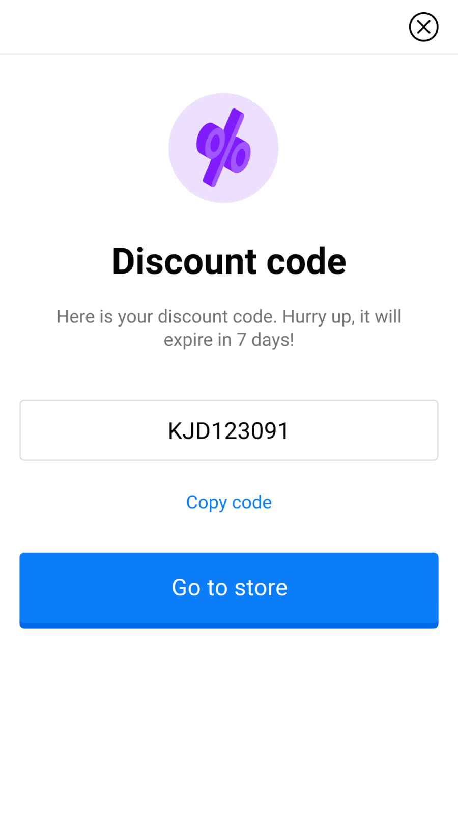 Discount code view