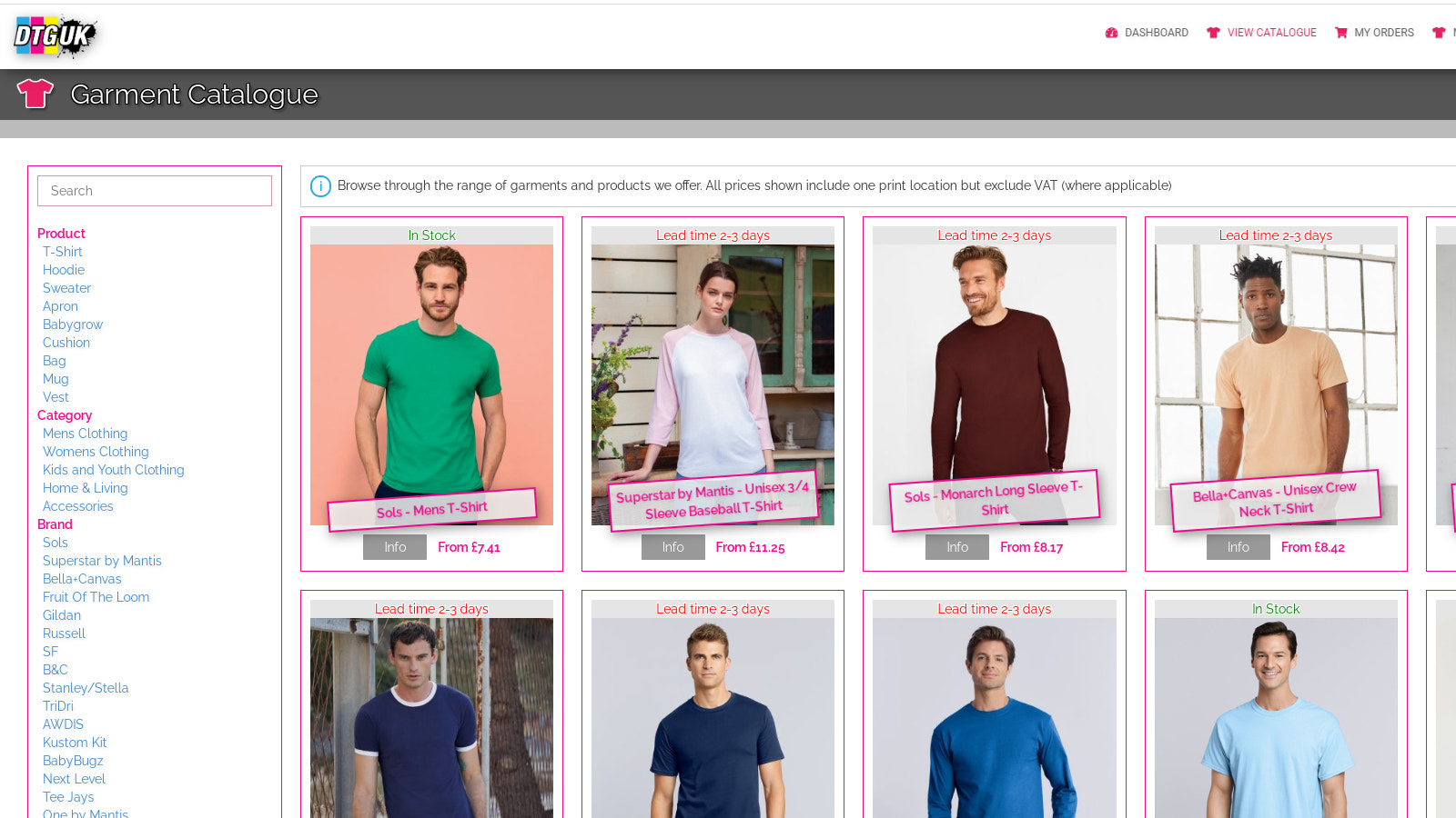 Select from our Garment Catalog