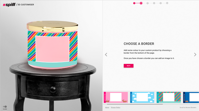 Create backgrounds for your customers and choose colours