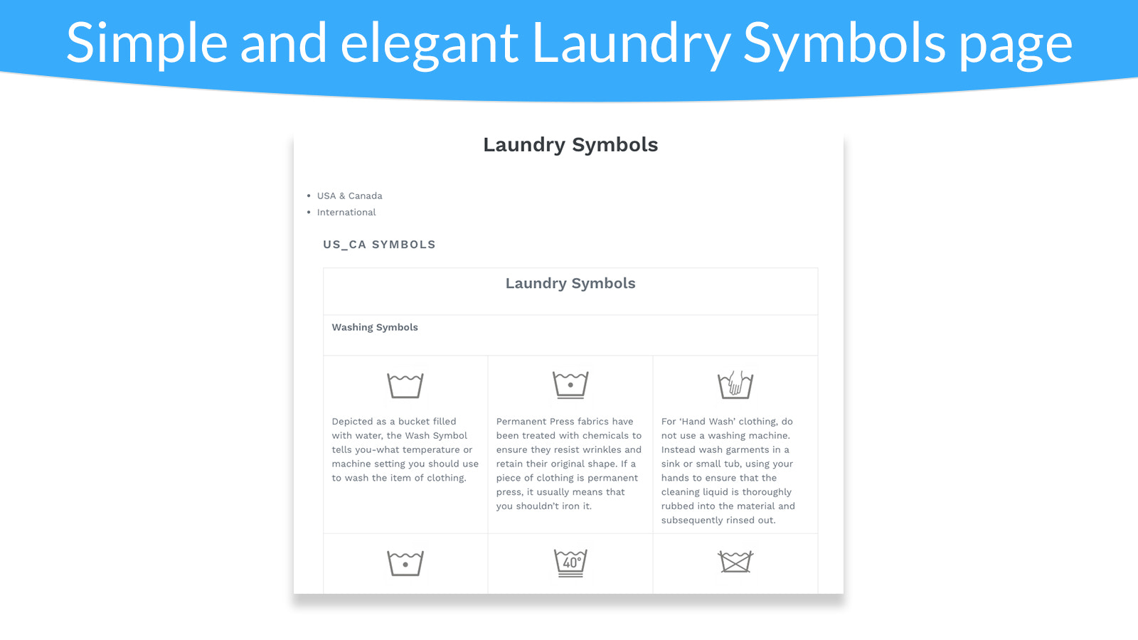 Shopify product care symbols page