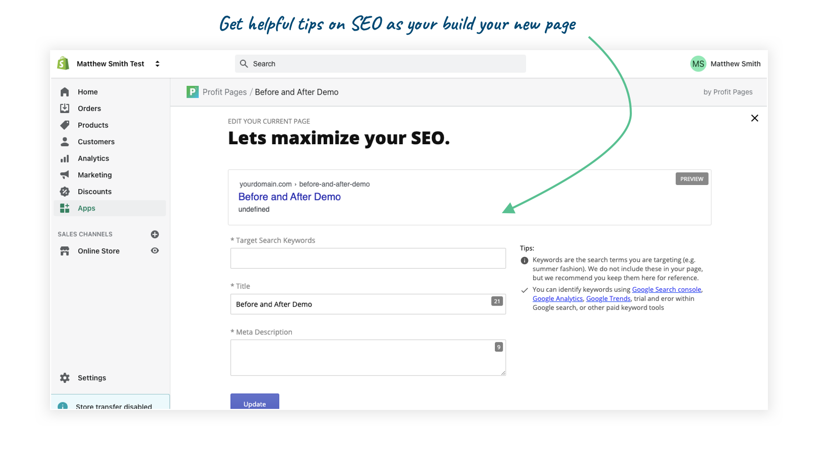 Maximize your SEO for all your Profit Pages.