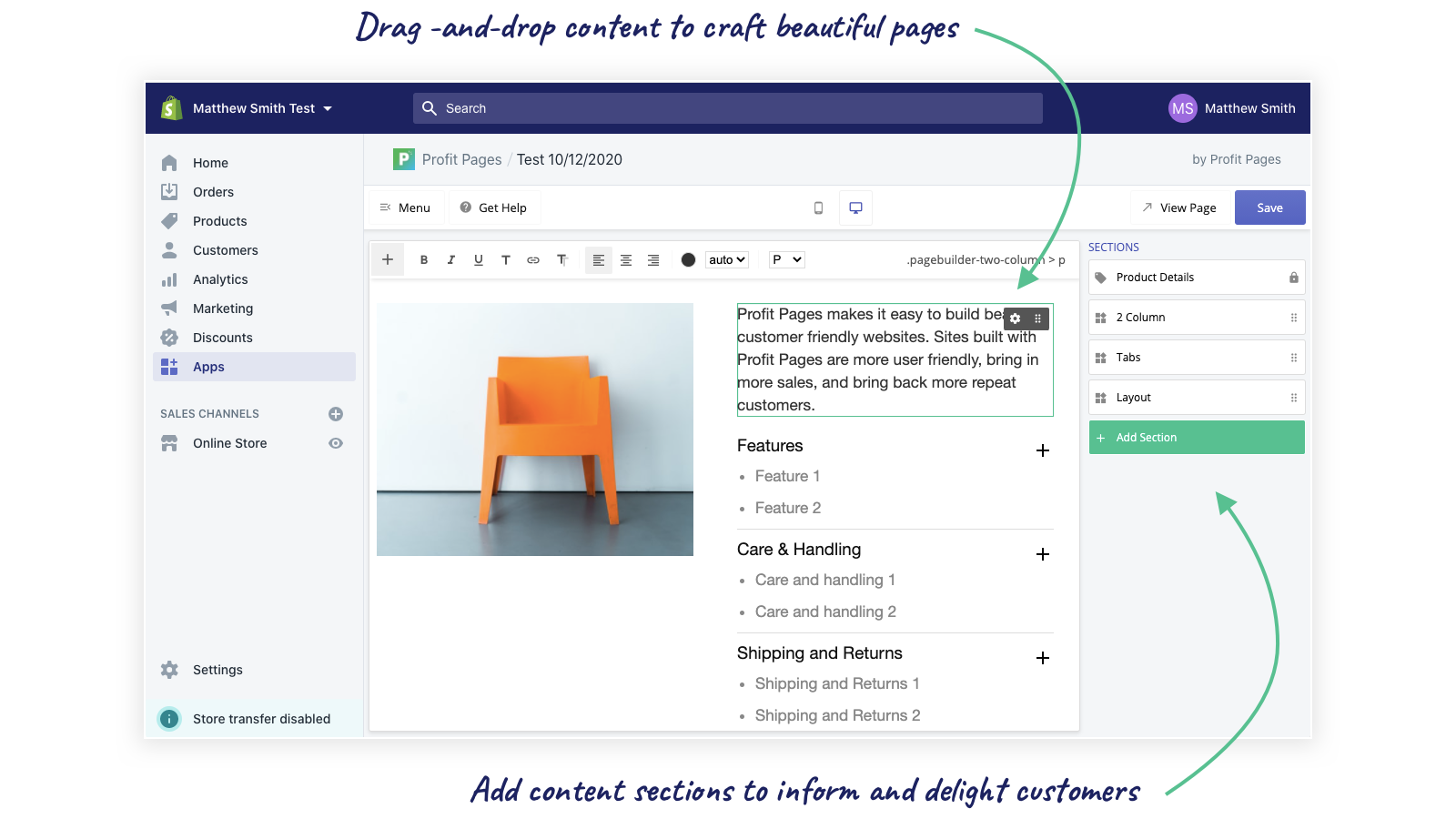 Profit Pages is integrated into the Shopify Experience.