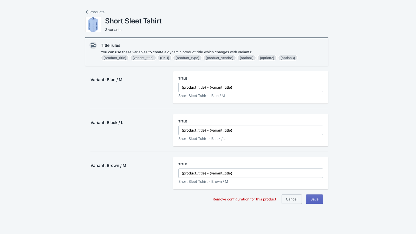 Super Variant Title Product View
