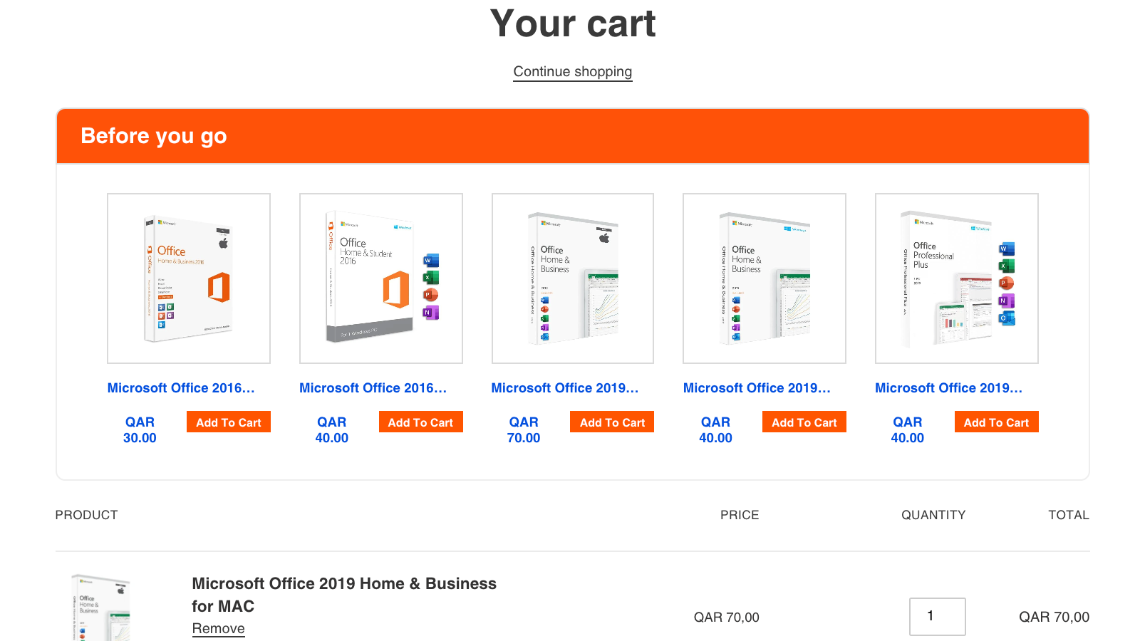 Frontend Cart Page