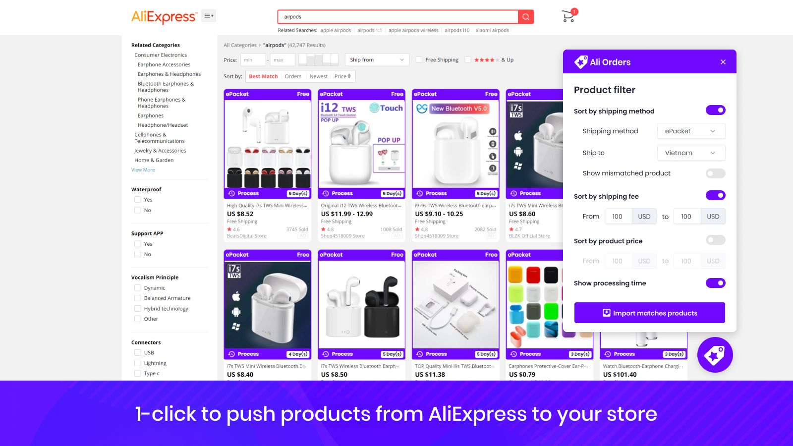 Ali Orders ePacket Product Filter for Dropshipping