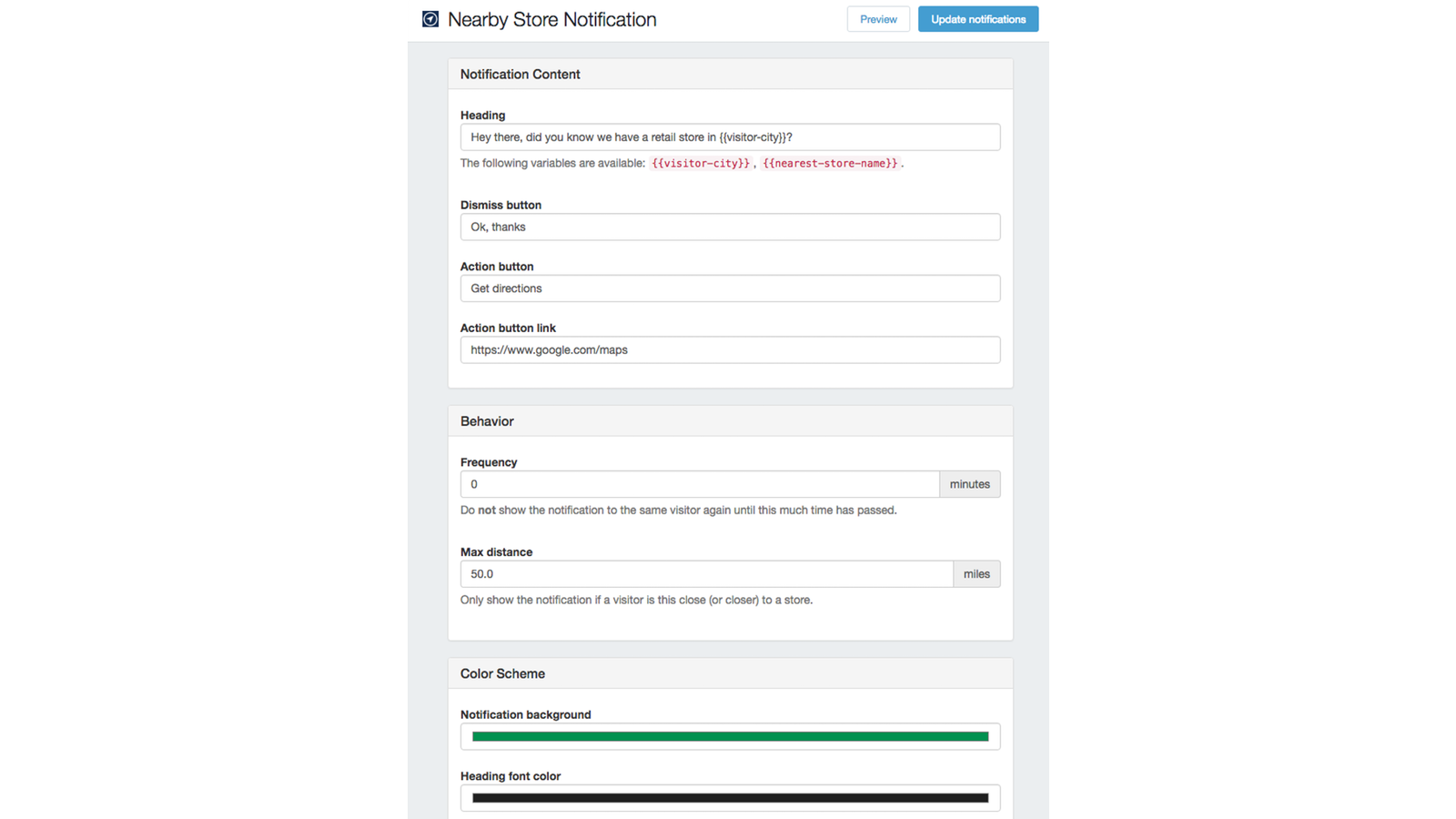 Nearby Store Notification Admin Interface