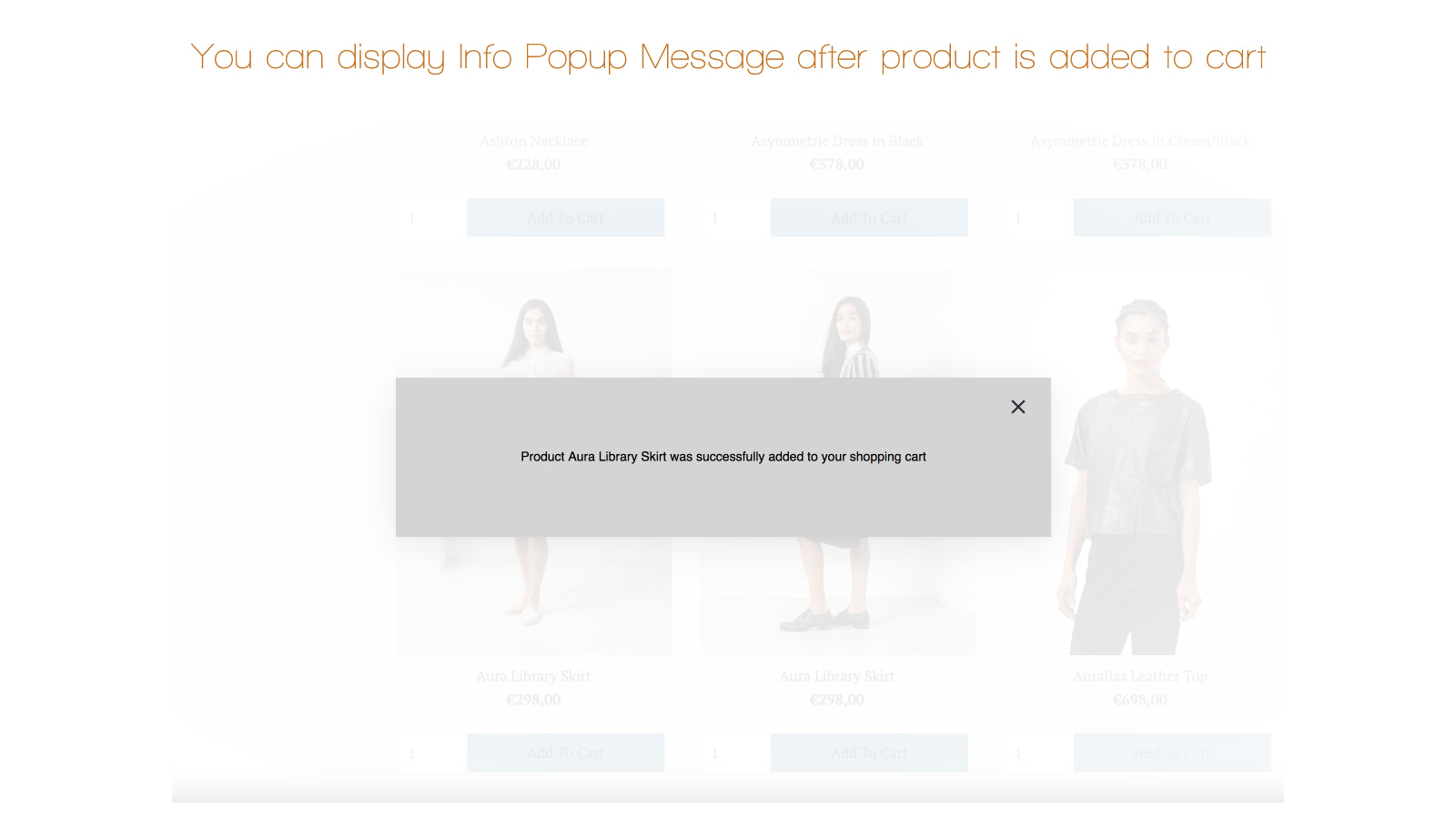Popup Info Message after product is added to cart