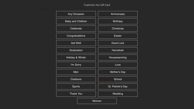 Customers select from a category