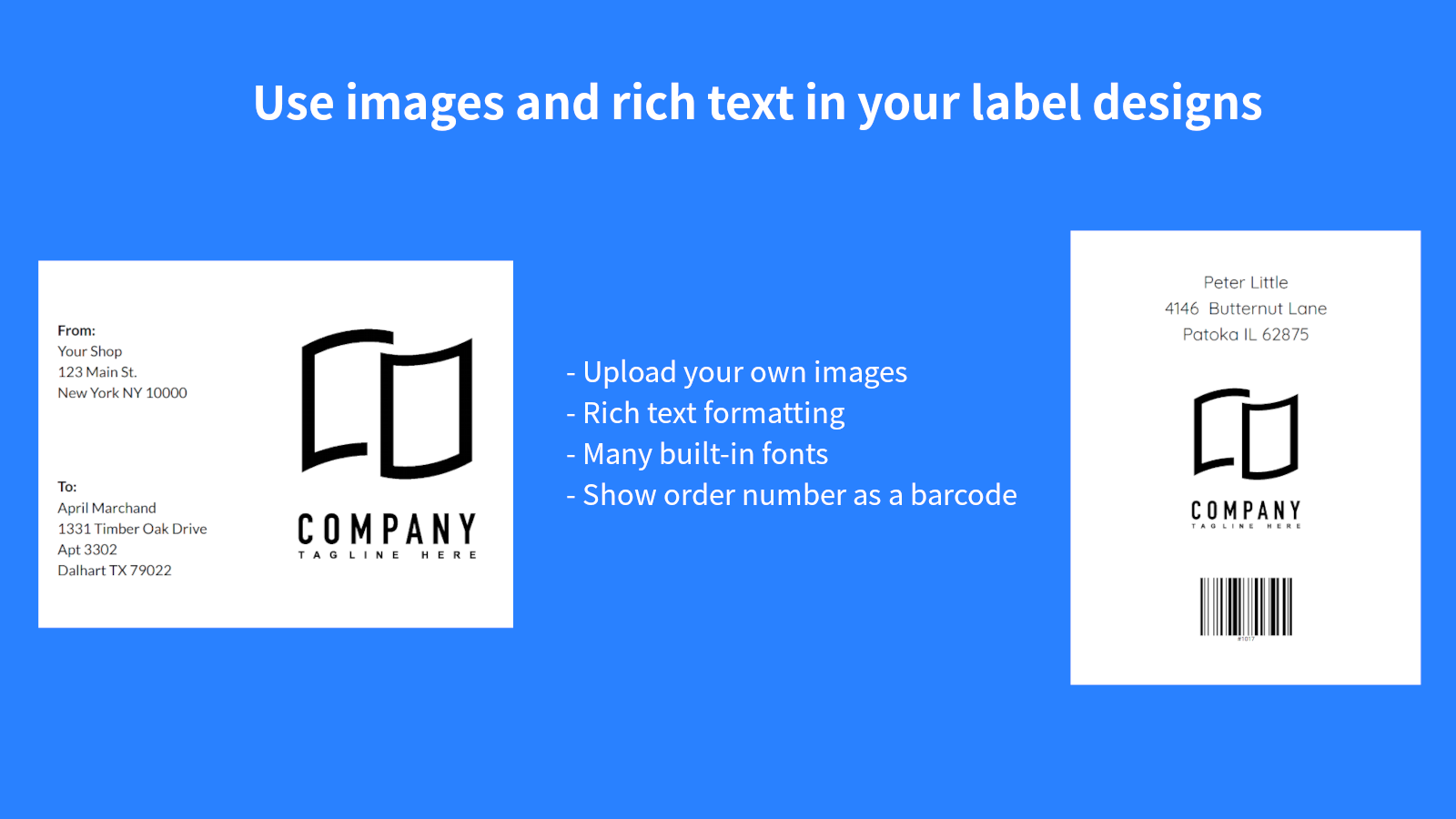 Use images and rich text in your label designs