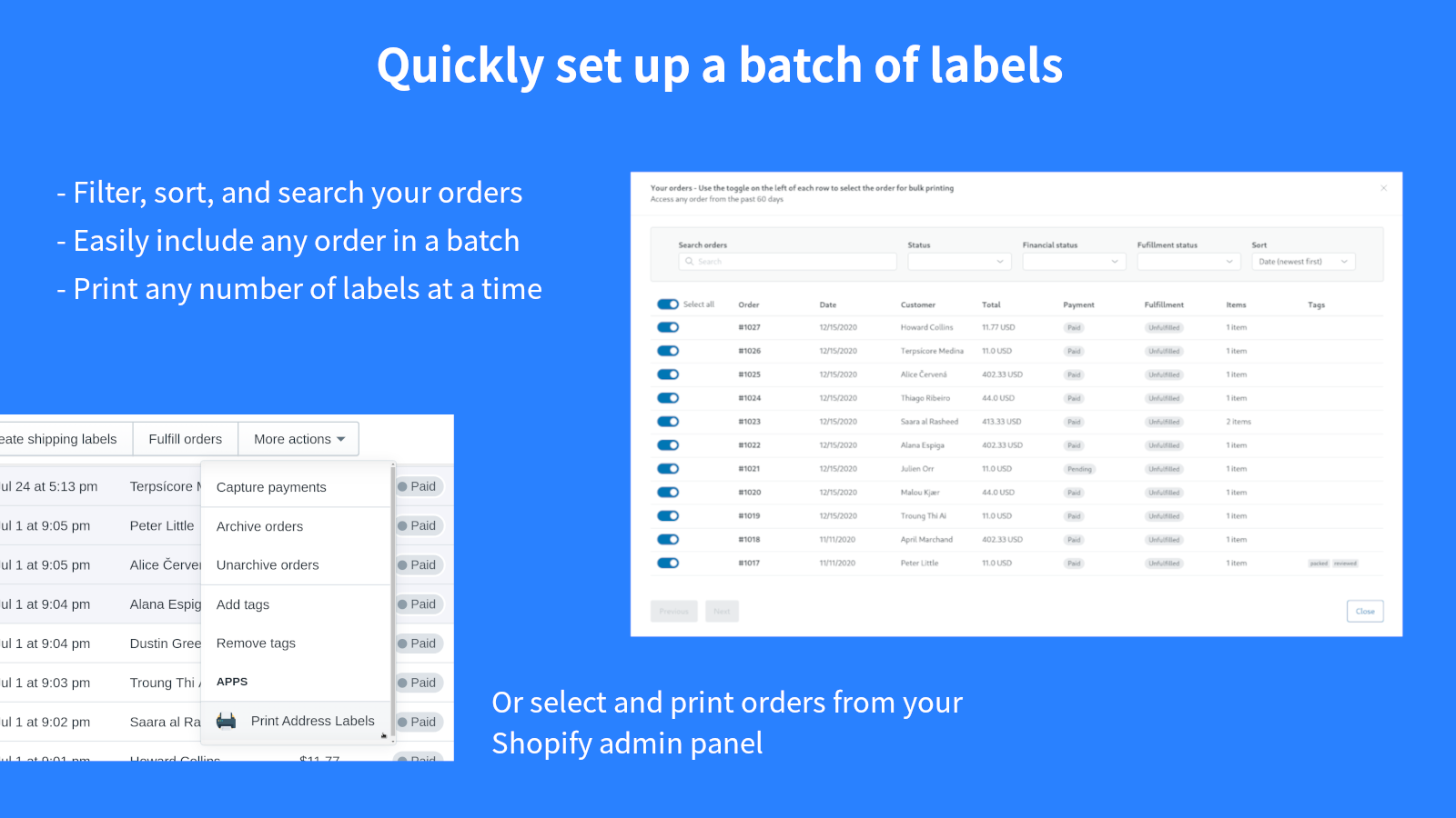 Quickly set up a batch of labels