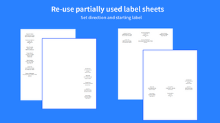Re-use partially used label sheets