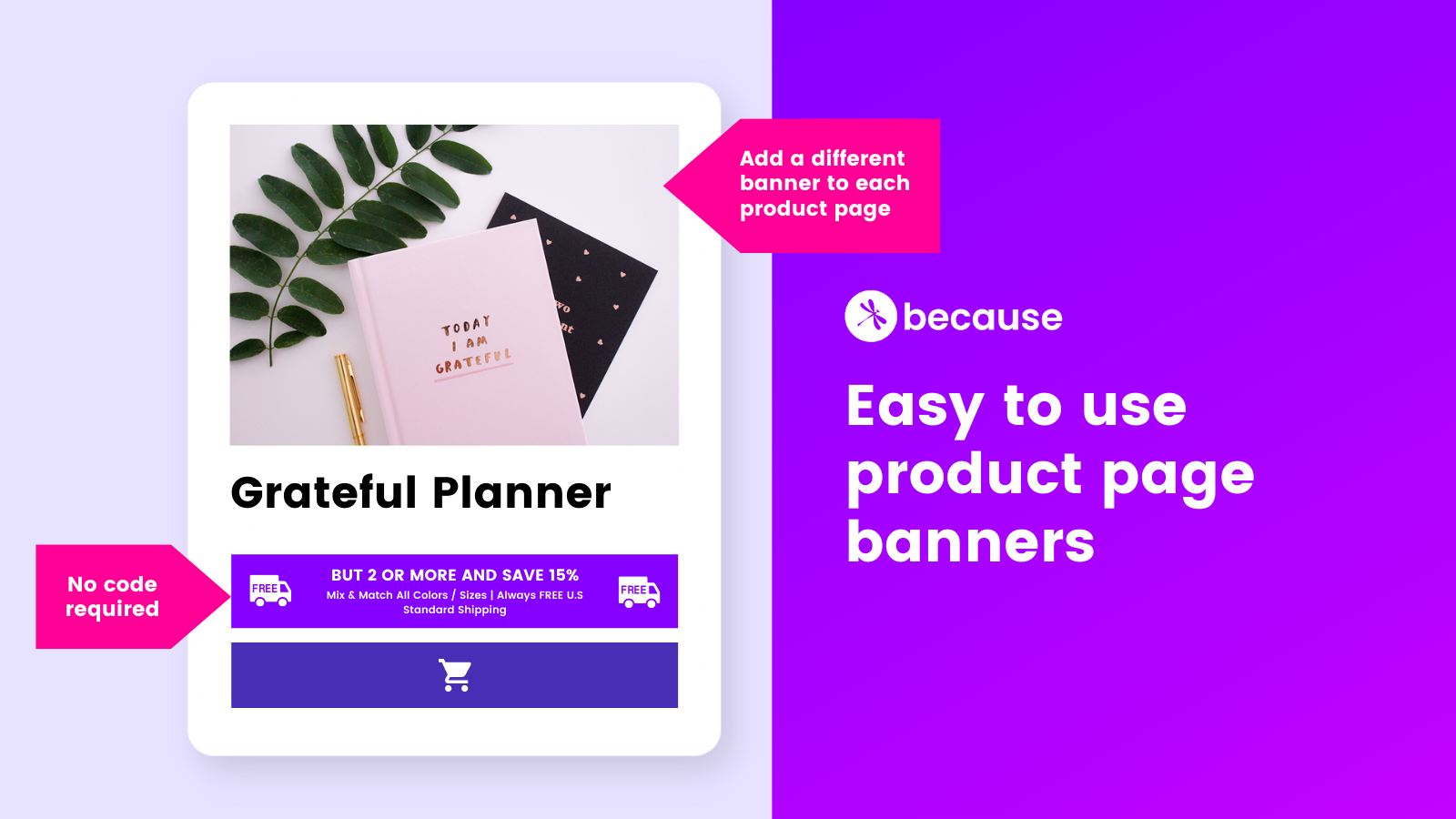 Easy to use product page banners