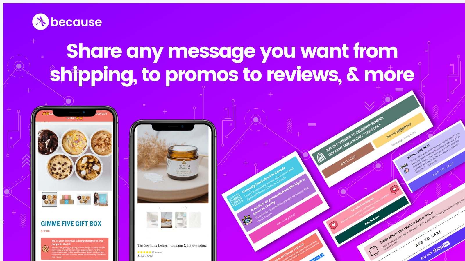 Highlight product information, promos, reviews and more on pages