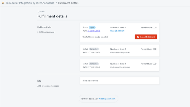Fulfillment details page