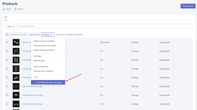 Extension to set the fulfillment service for products