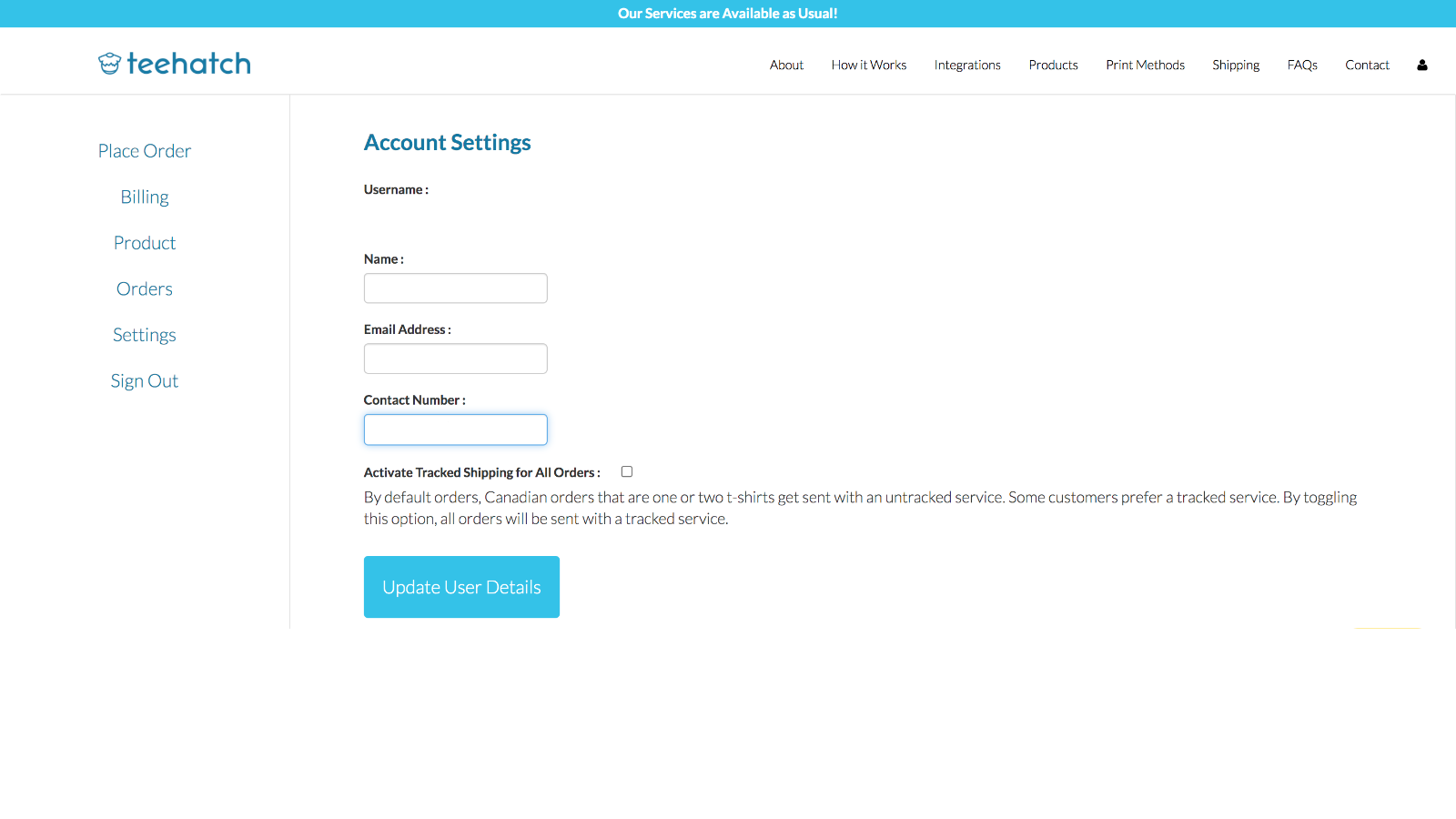This is the main account screen to edit user information.
