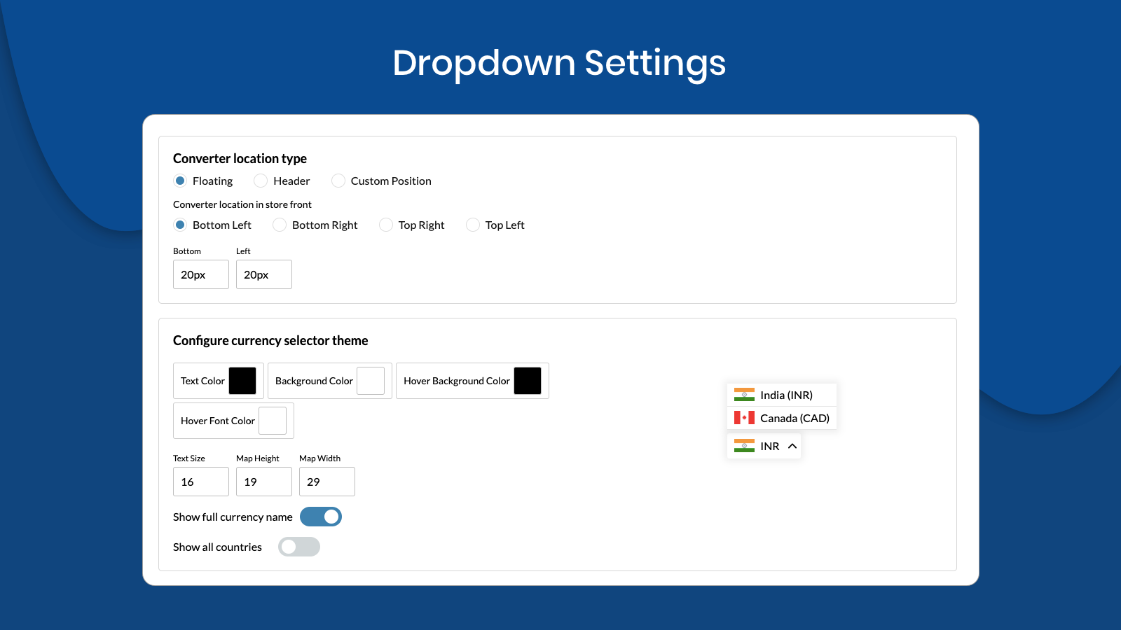 Dropdown settings of Currency Converter