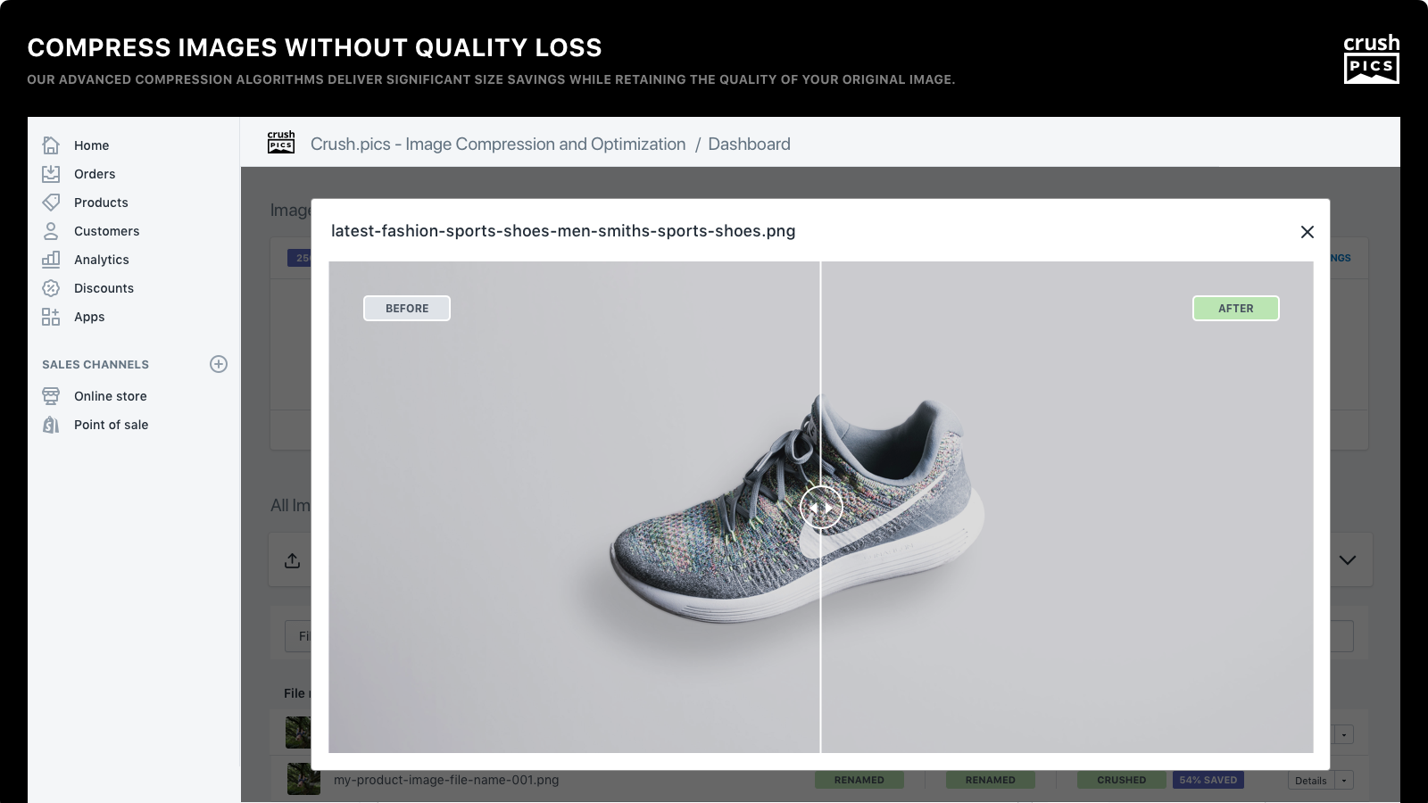 compress & optimize images without quality loss