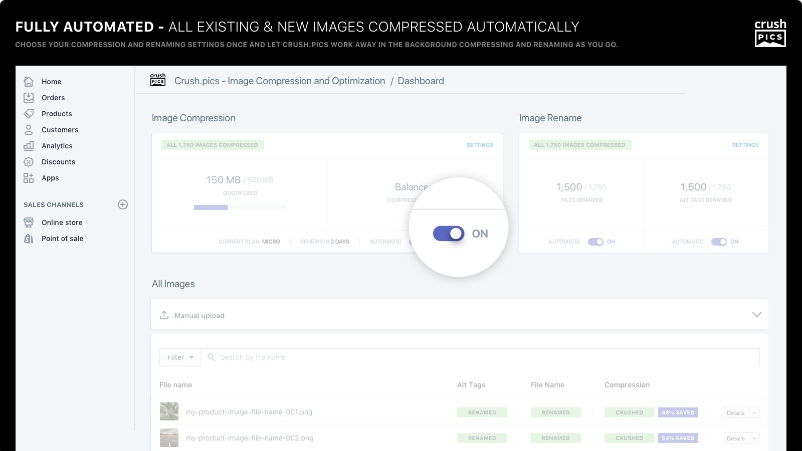 fully automated - all existing and new images compressed autom.